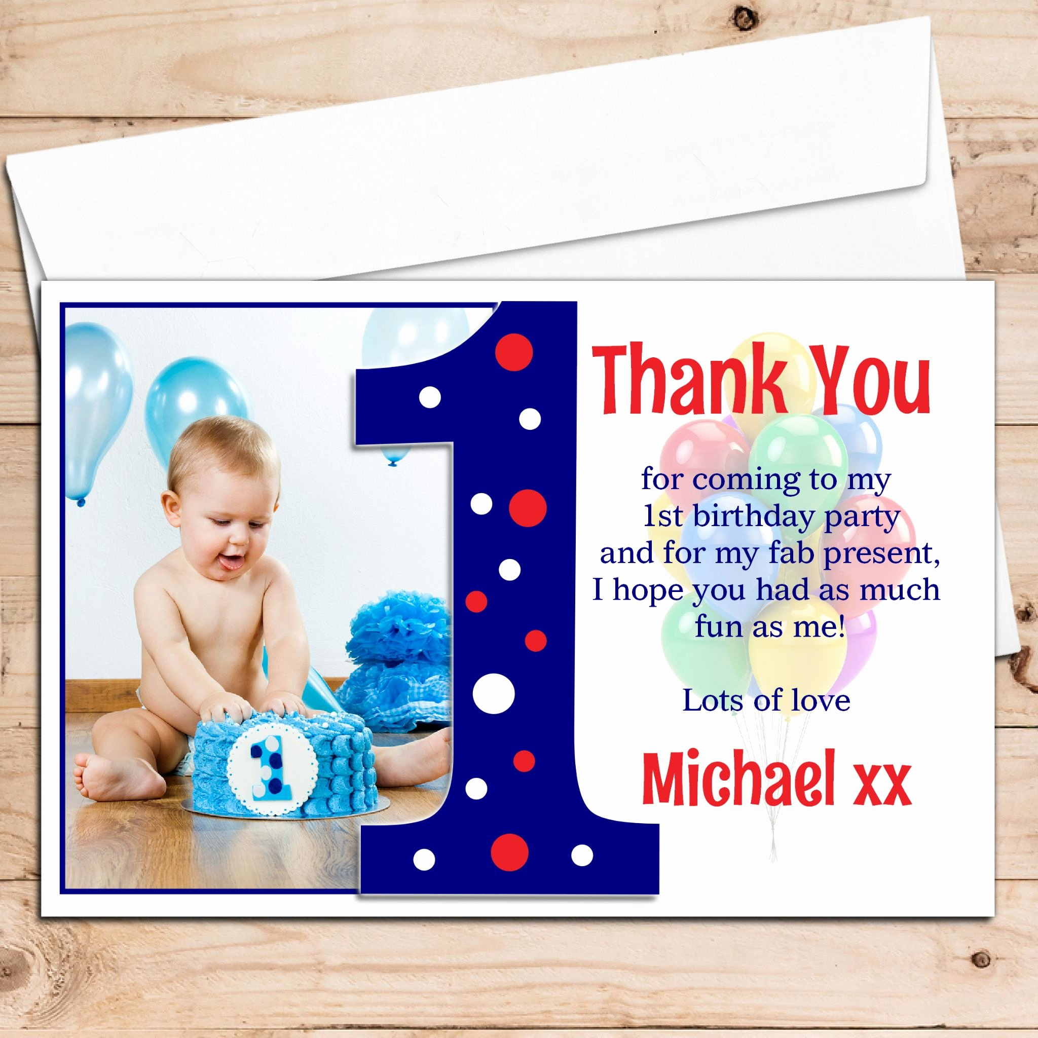 1st Birthday Thank You Inspirational 10 Personalised Boys First 1st Birthday Thank You Photo