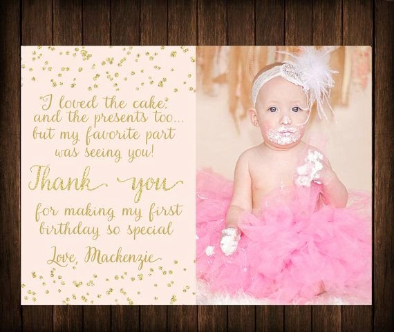 1st Birthday Thank You Inspirational First Birthday Thank You Card Pink & Gold by