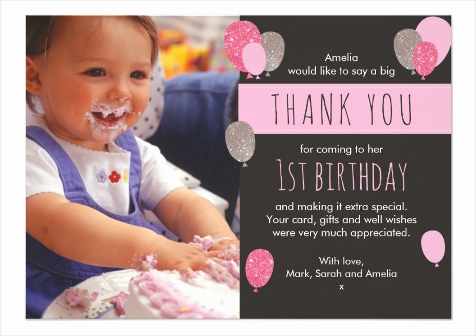 1st Birthday Thank You Lovely 18 Stunning Thank You Cards Editable Psd Vector
