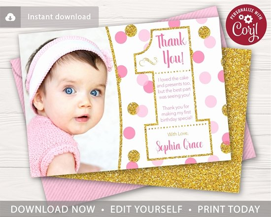 1st Birthday Thank You Lovely Pink and Gold Confetti 1st Birthday Thank You Card with