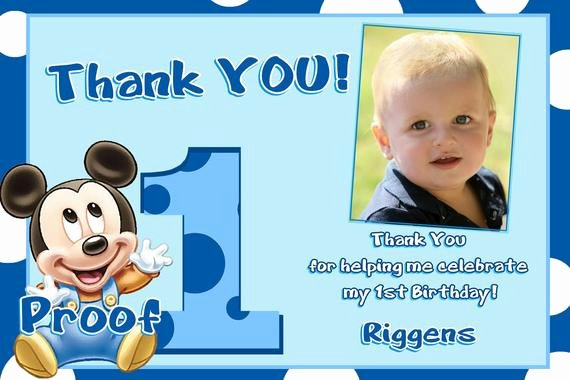 1st Birthday Thank You New Mickey Mouse 1st Birthday Thank You Cards