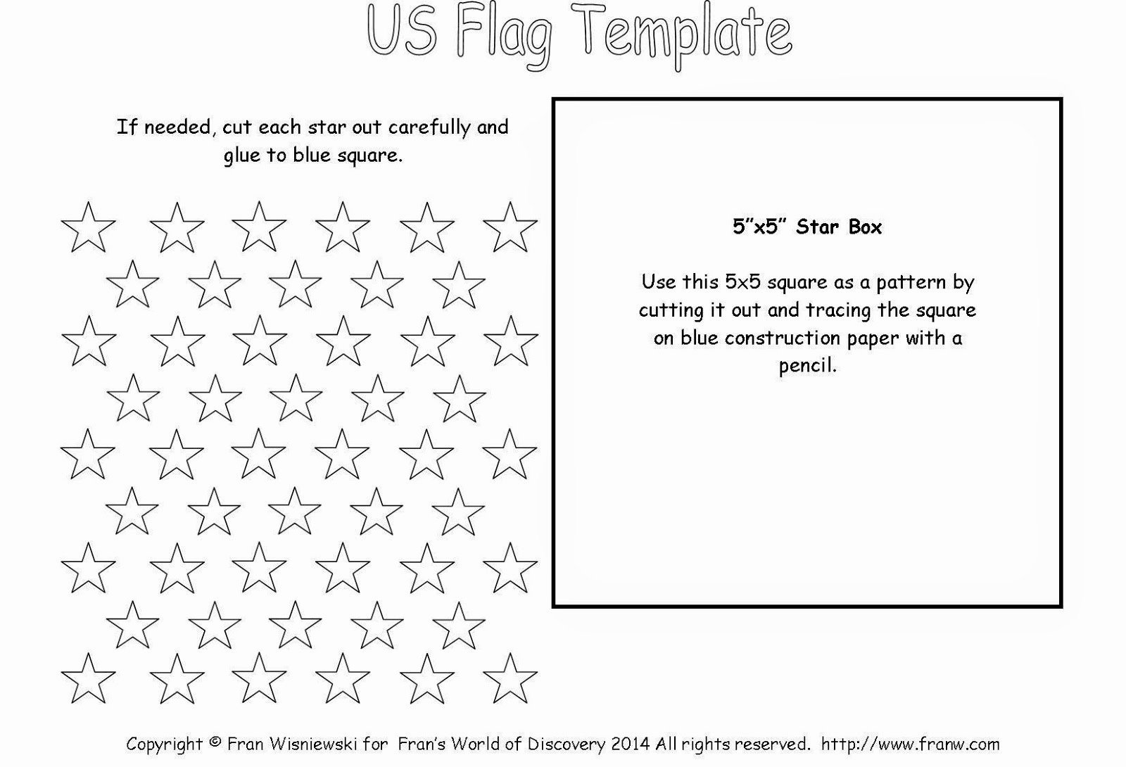 2 Inch Star Stencil Inspirational Funschooling & Recreational Learning United States Flag