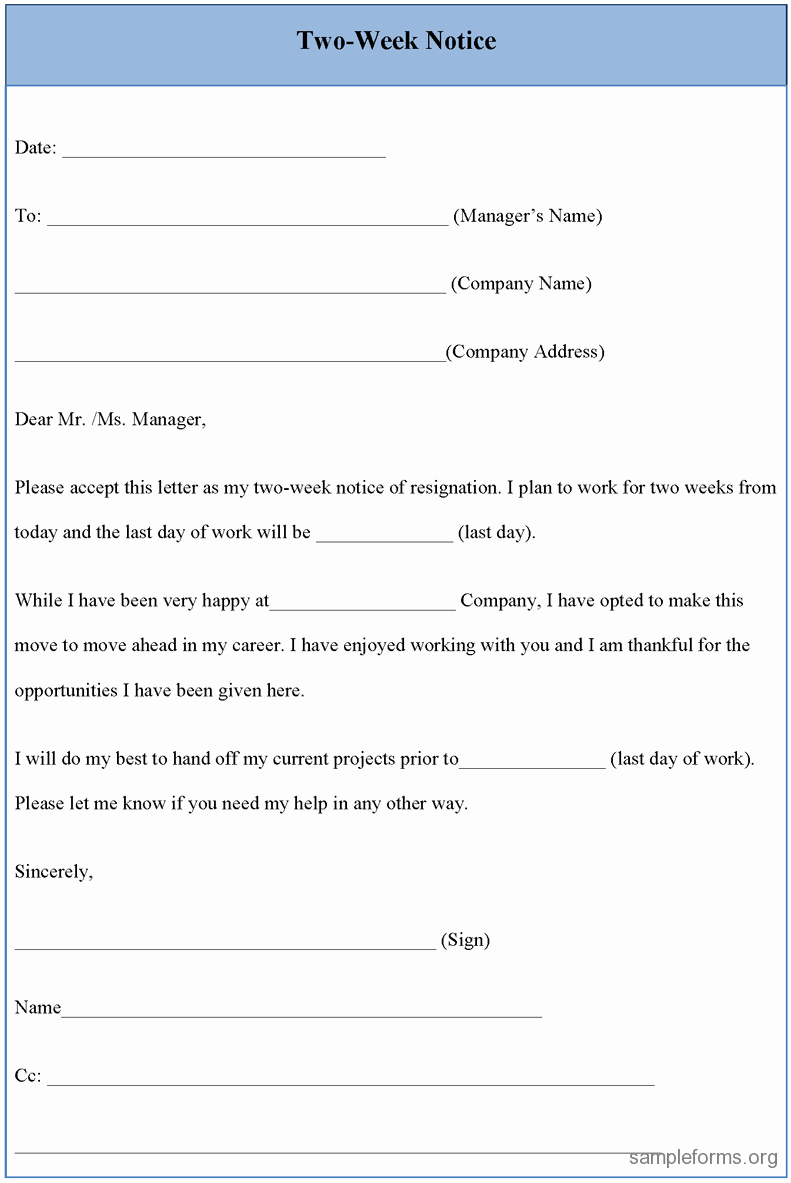2 Week Notice form Best Of Two Week Notice form Sample forms