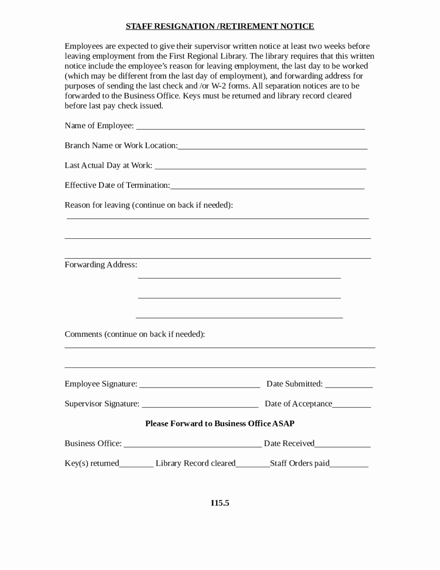 2 Week Notice form Elegant 2017 Miscellaneous forms Fillable Printable Pdf & forms