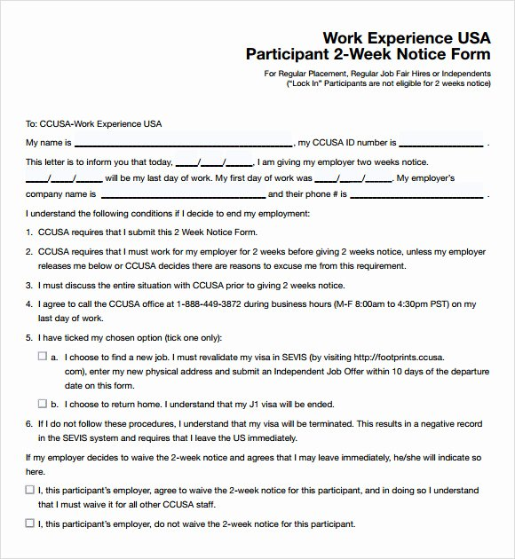 2 Week Notice form Lovely 2 Weeks Notice Template 7 Download Free Documents In Pdf