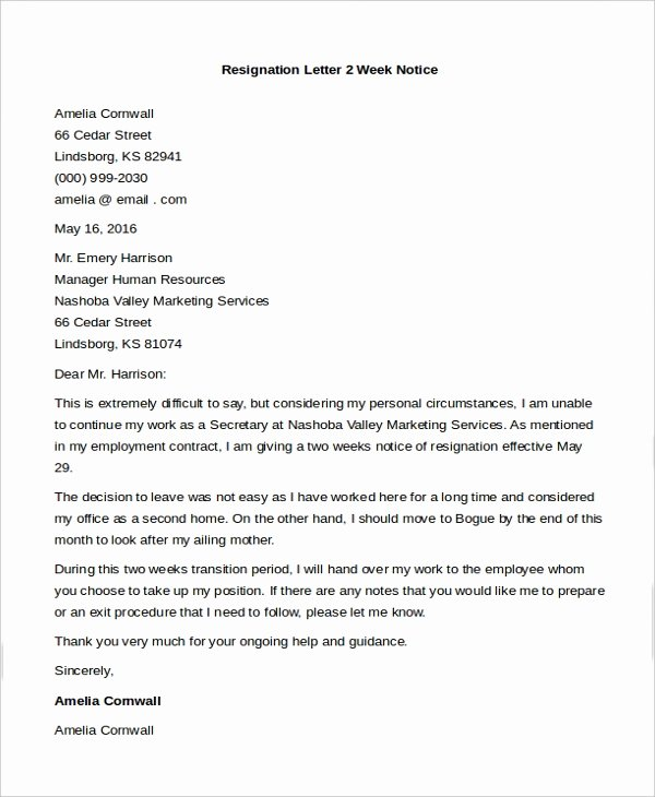 2 Week Notice form Lovely Sample Letters Of Resignation 8 Free Documents In Doc