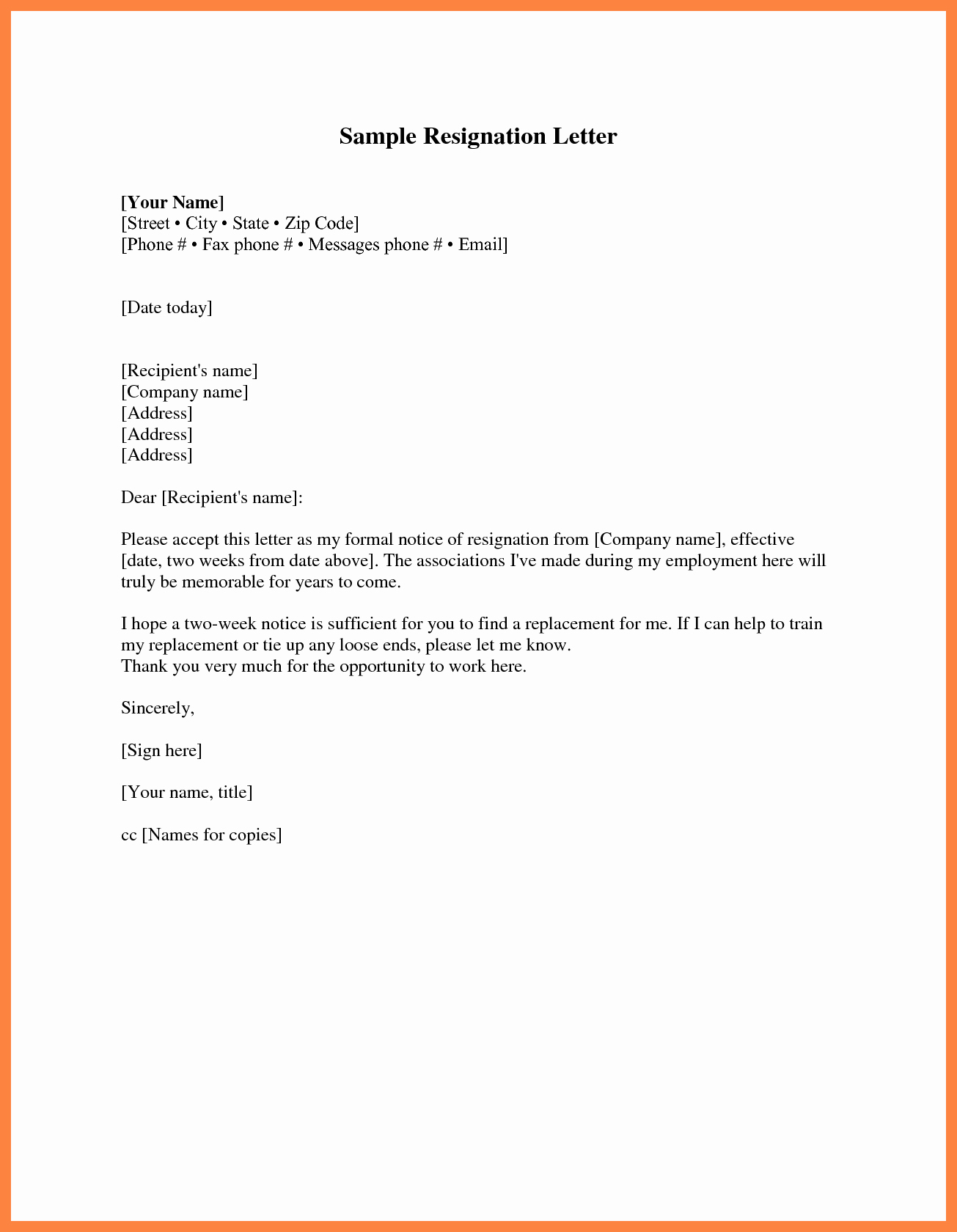 2 Week Notice form New Two Week Notice Template