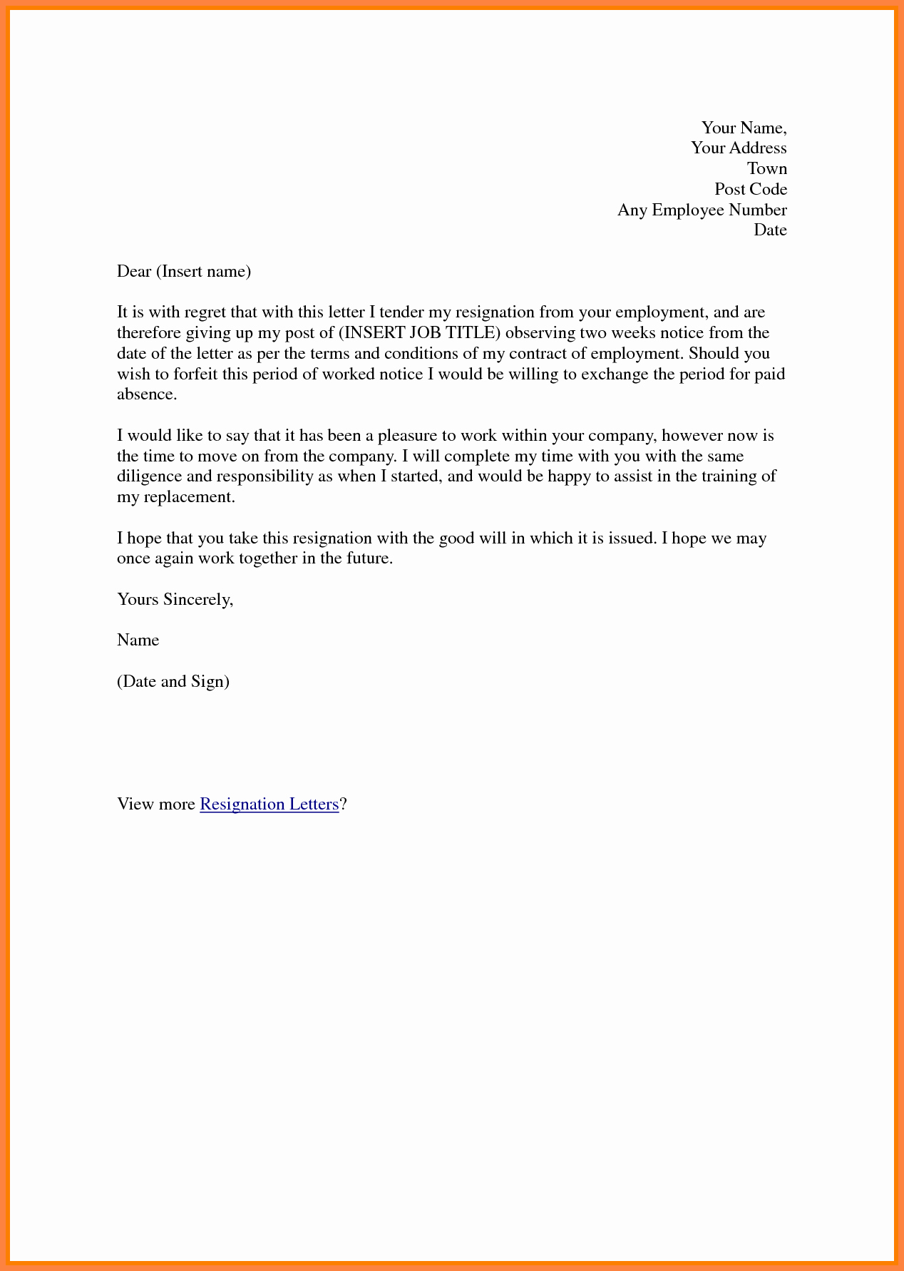 2 Week Resignation Letter Template Best Of 12 formal 2 Week Notice Template