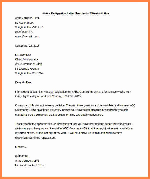 2 Week Resignation Letter Template Fresh 5 Resignation Letter 2 Week Notice Samples