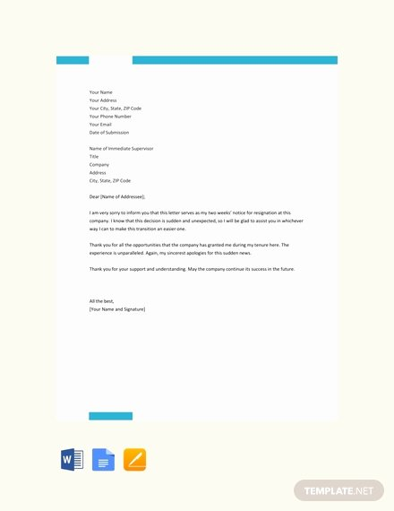 2 Week Resignation Letter Template Lovely Free Two Weeks Notice Resignation Letter Template Pdf