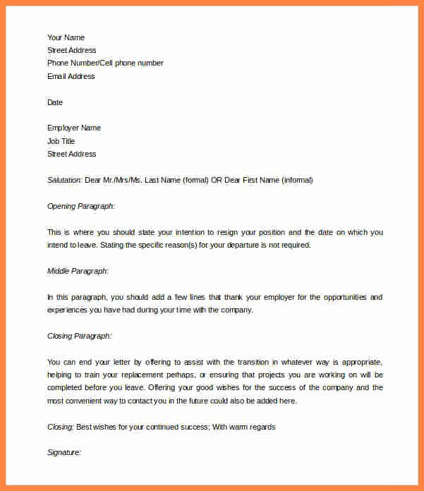2 Week Resignation Letter Template New 10 Template for Week Notice