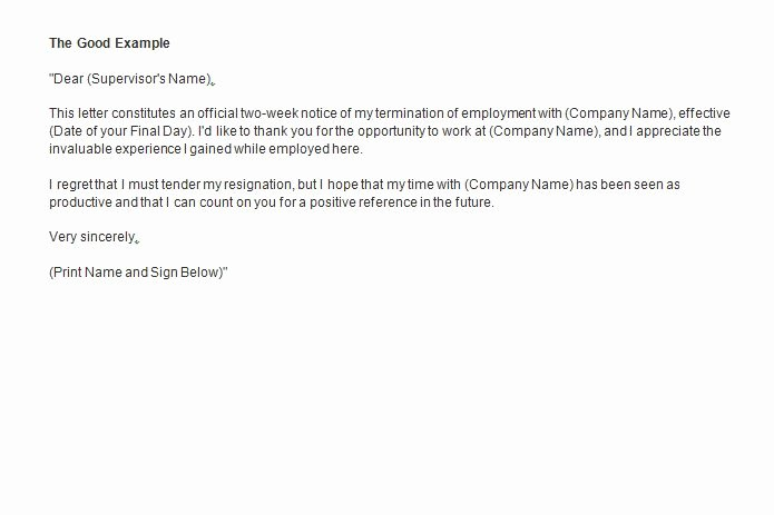 2 Weeks Notice Letter format Awesome Two Weeks Notice Letter How to Write Guide & Resignation