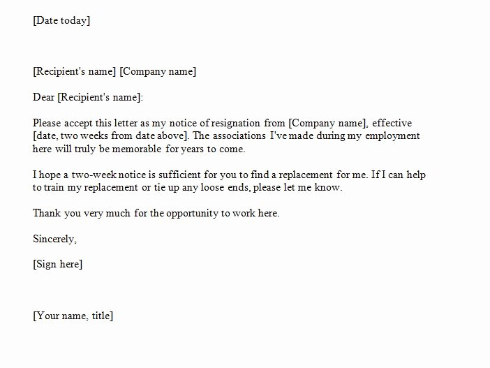 2 Weeks Notice Letter format Beautiful 40 Two Weeks Notice Letters & Resignation Letter Samples