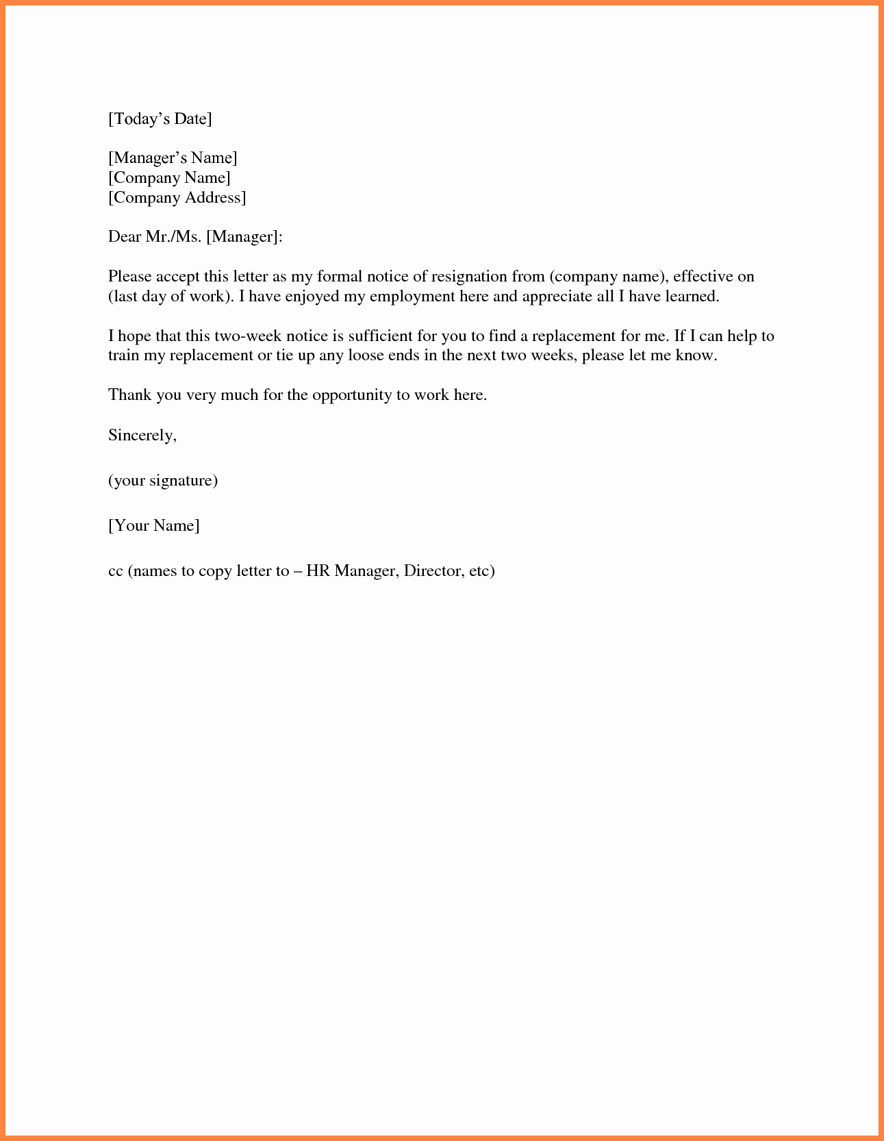 2 Weeks Notice Letter format Beautiful 9 Sample 2 Weeks Notice to Employer