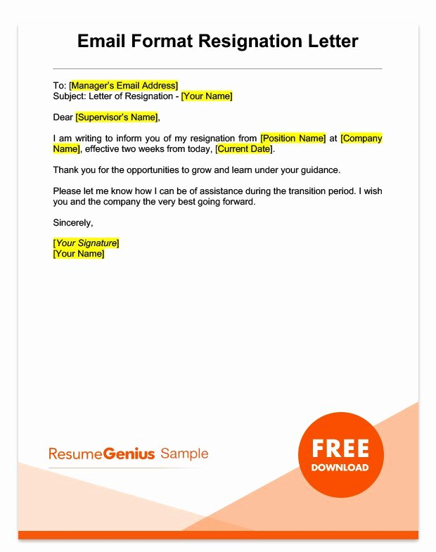 2 Weeks Notice Letter format Beautiful Two Weeks Notice Letter Sample Free Download