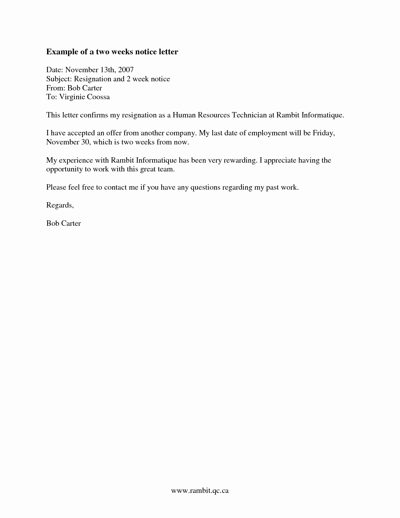 2 Weeks Notice Letter format Beautiful Two Weeks Notice Letter Template