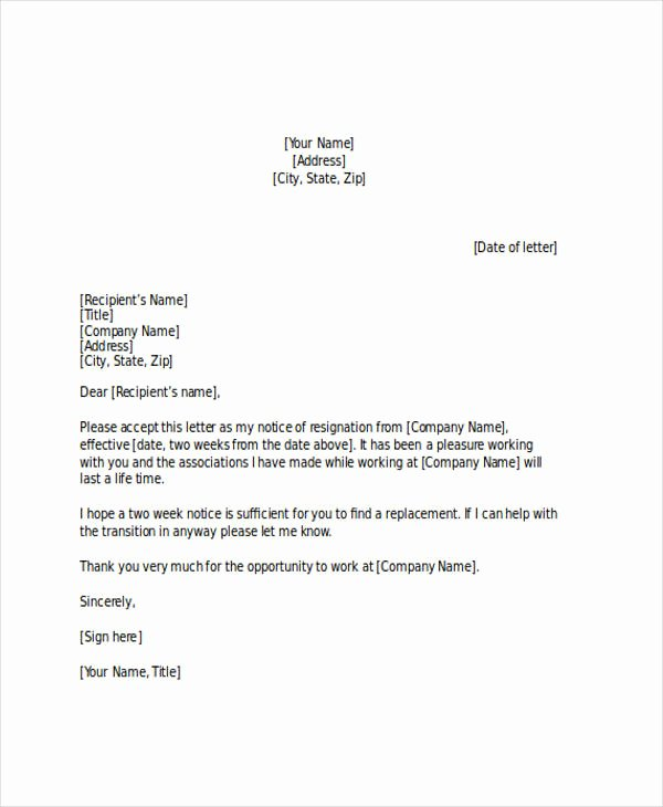 2 Weeks Notice Letter format Best Of Free 21 Two Weeks Notice Letter Examples & Samples In