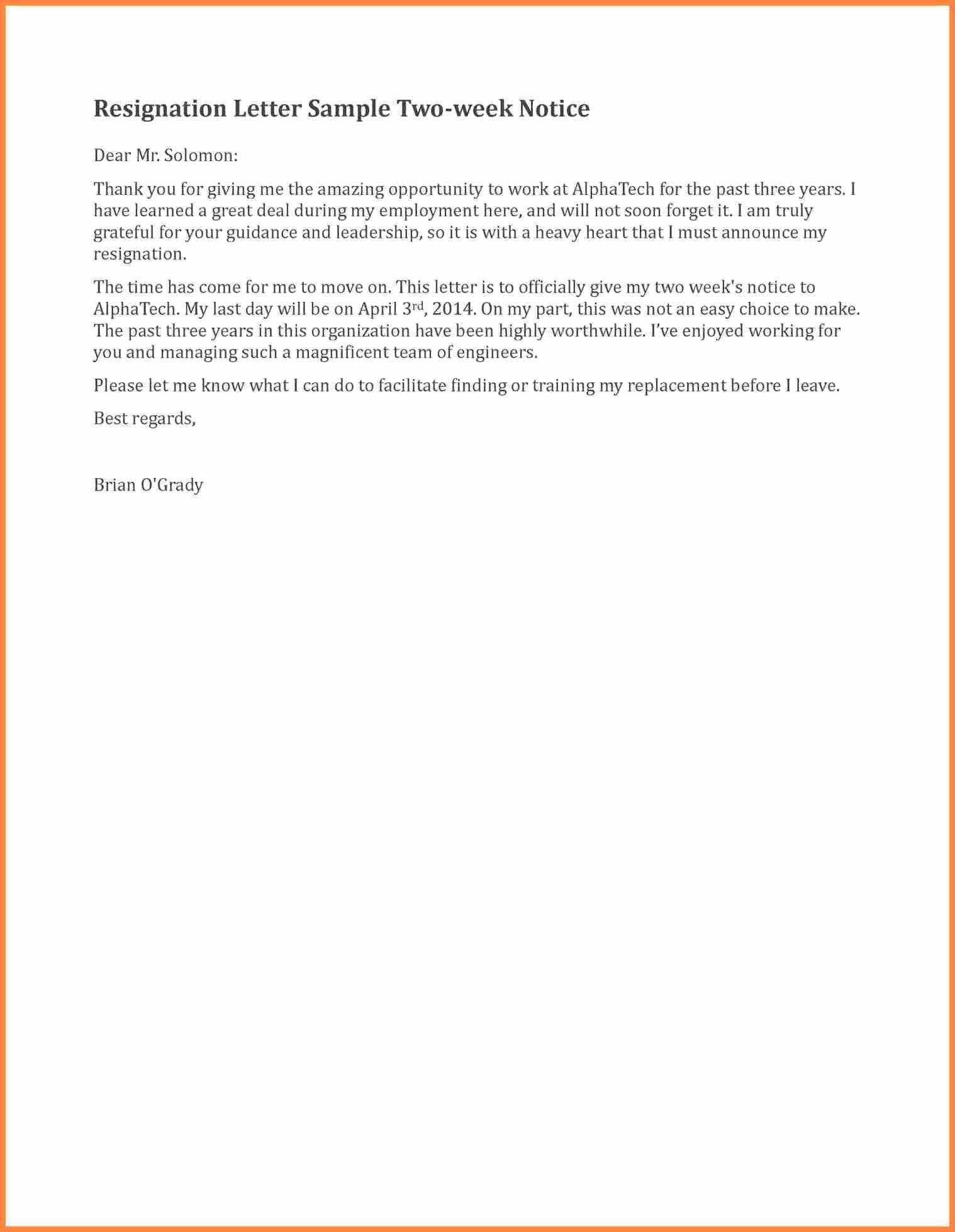 2 Weeks Notice Letter format Fresh 5 Sample Two Weeks Notice Letter Restaurant