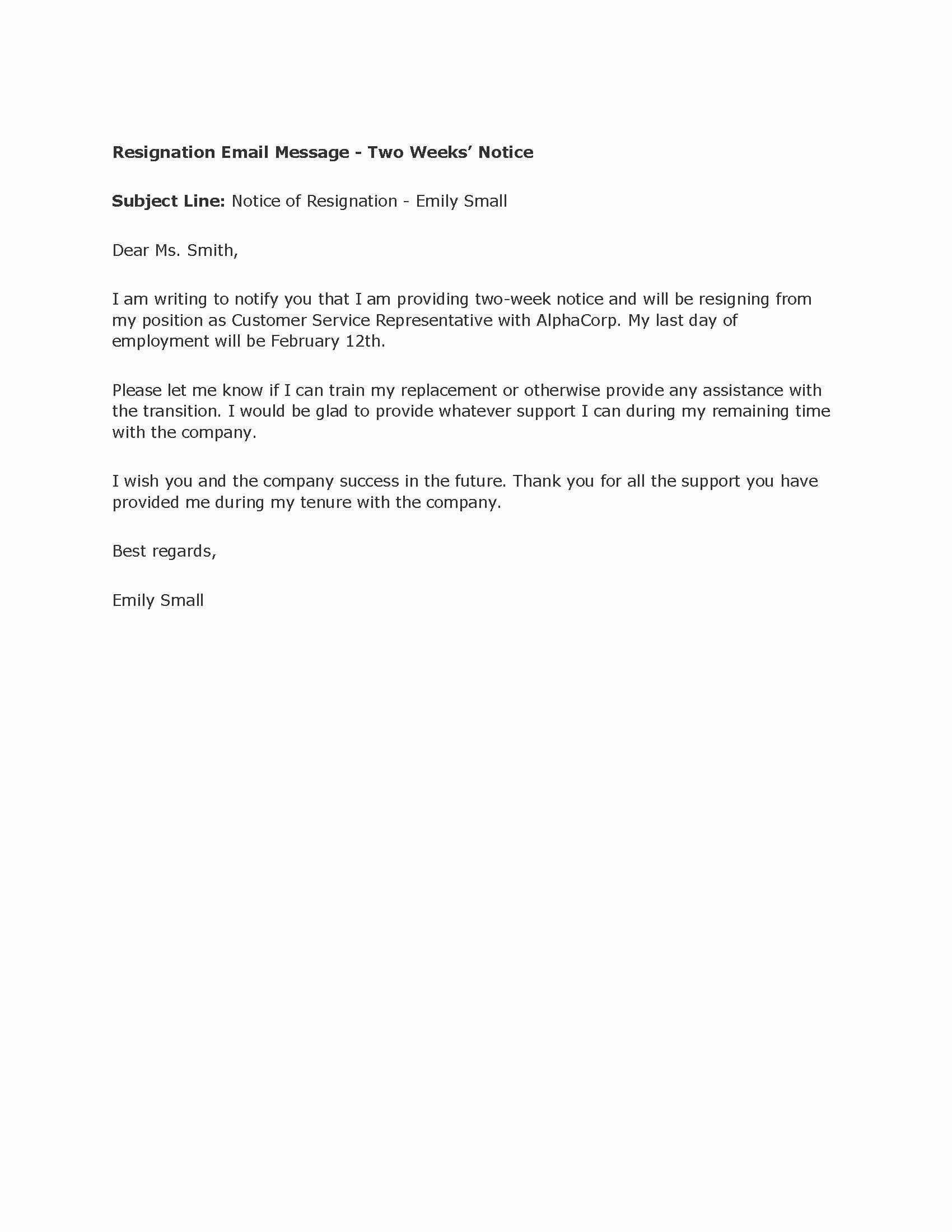 2 Weeks Notice Letter format Inspirational Professional Two Weeks Notice Letter Templates