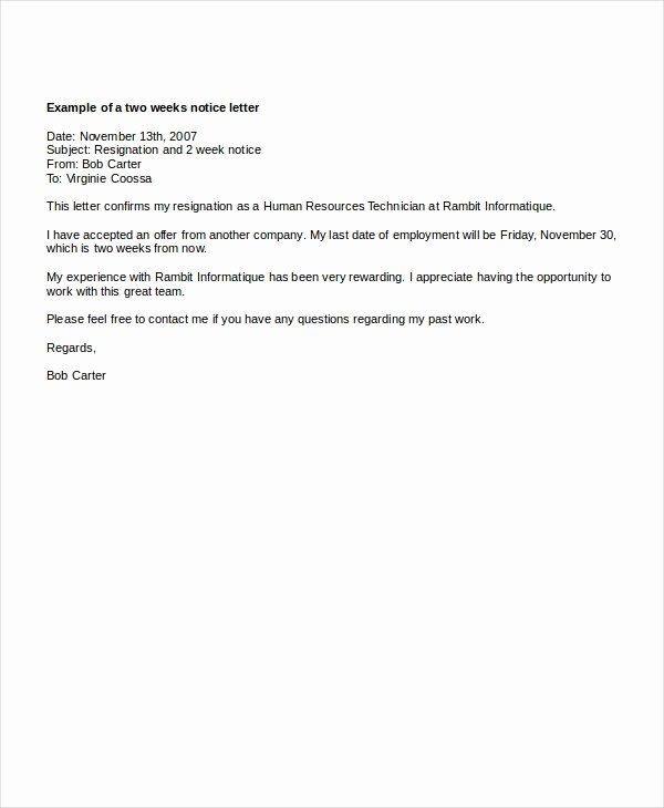 2 Weeks Notice Letter format Luxury 9 Two Weeks Notice Letter Examples Pdf Google Docs Ms