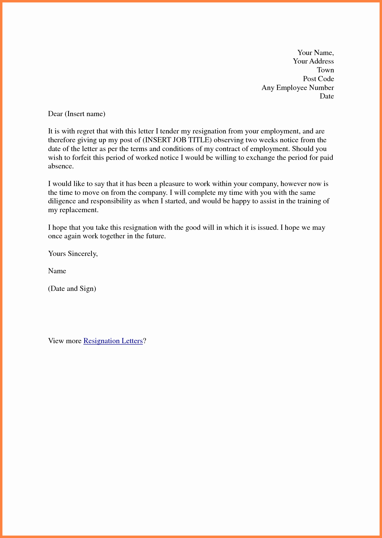 2 Weeks Notice Letter format New 6 Sample Of Resignation Letter Two Weeks Notice