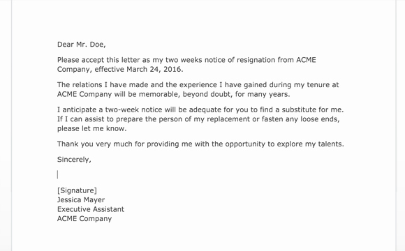 2 Weeks Notice Letter format New Two Weeks Notice Letters 2 Samples