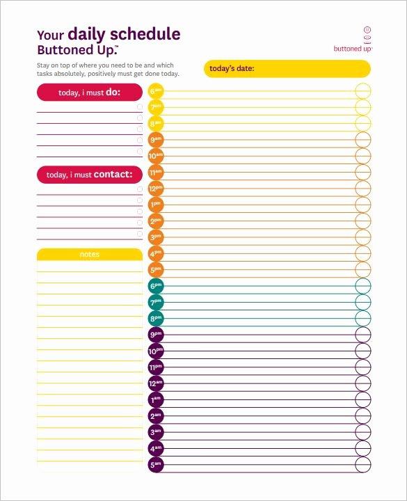 24 7 Schedule Template Elegant 24 Hours Schedule Template – 8 Free Word Excel Pdf