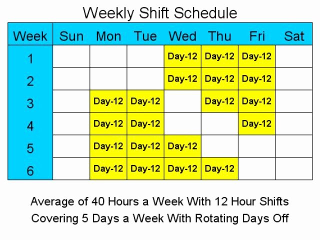 24 7 Schedule Template Unique 28 Of 4 Day 40 Hour Work Week Template for 6 People