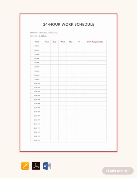 24 Hour Schedule Planner Beautiful Free 24 Hour Work Schedule Template Download 382