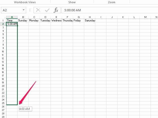 how weekly hour calendar excel