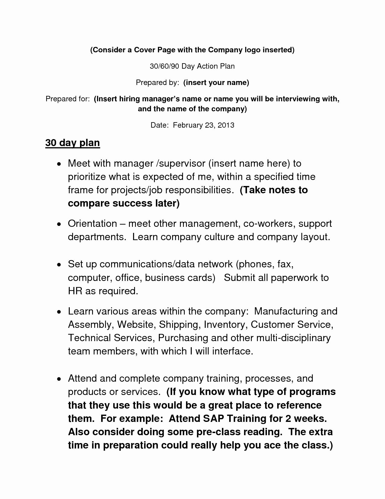 30 60 90 Business Plan Luxury 30 60 90 Day Action Plan Template Info