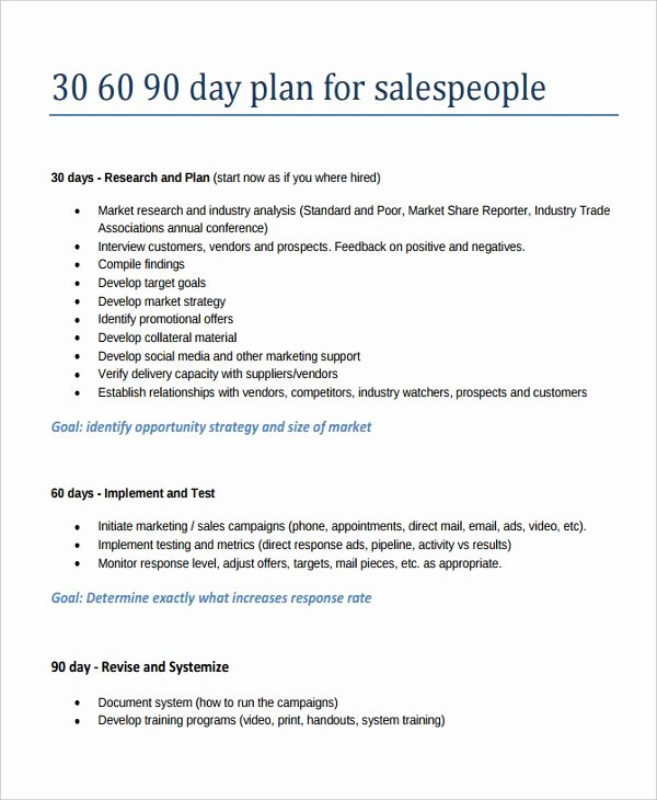 30 60 90 Plan Template Awesome 30 60 90 Day Sales Plan Template Template