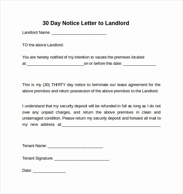 30 Day Notice Examples Awesome 30 Day Notice to Landlord California Template