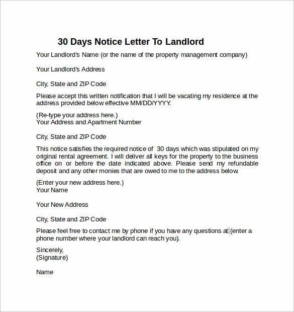 30 Day Notice Examples Lovely 10 Sample 30 Days Notice Letters to Landlord In Word