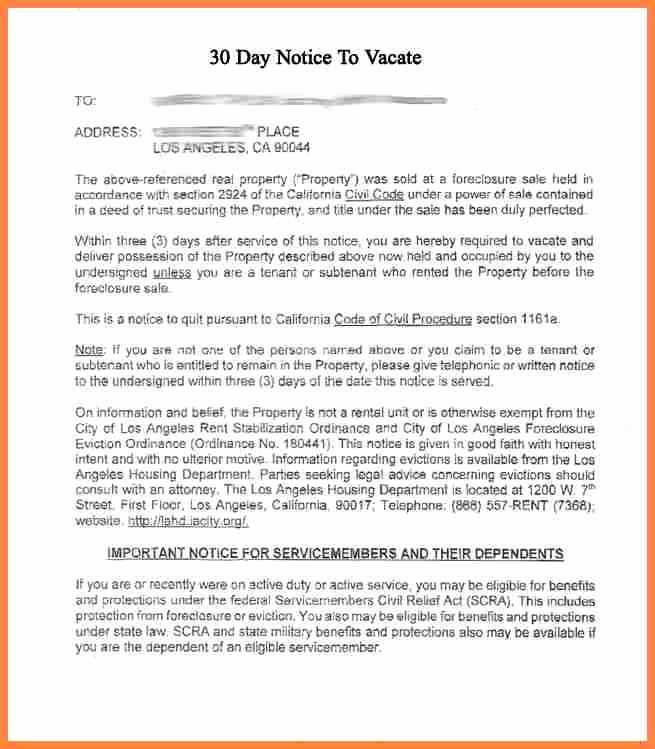 30 Day Notice Sample Awesome 5 Sample Of 30 Day Notice to Vacate