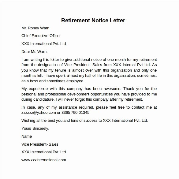 30 Days Notice Example New Sample 30 Days Notice Letter 7 Free Documents In Word Pdf