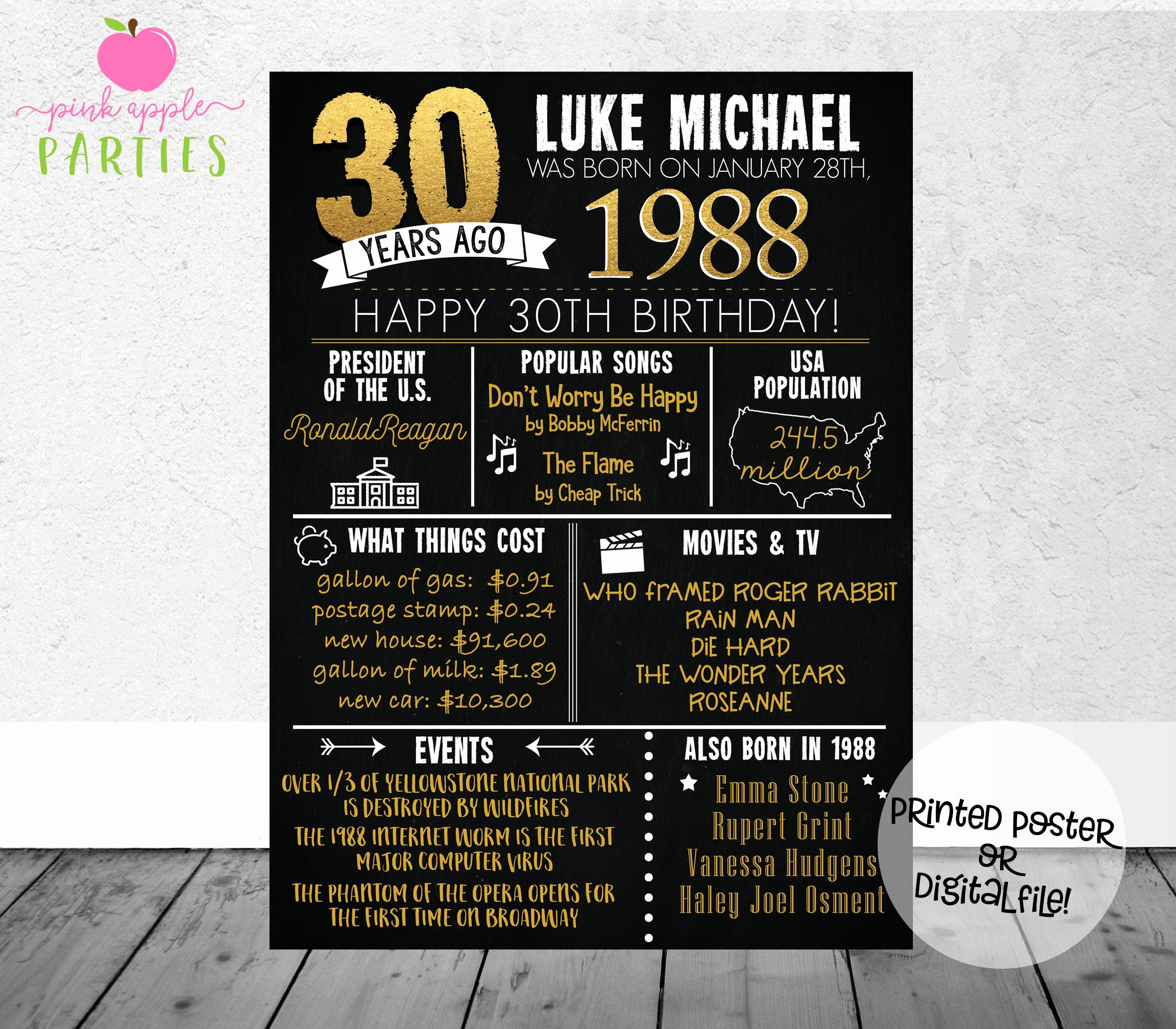 30th Birthday Poster Templates Beautiful 30th Birthday Chalkboard Poster Back In 1988 30 Years Ago
