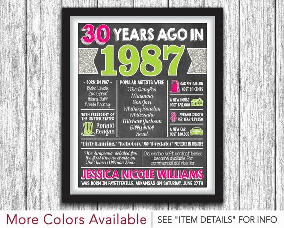 30th Birthday Poster Templates Beautiful the Year You Were Born Chalkboard Poster Printable 30th
