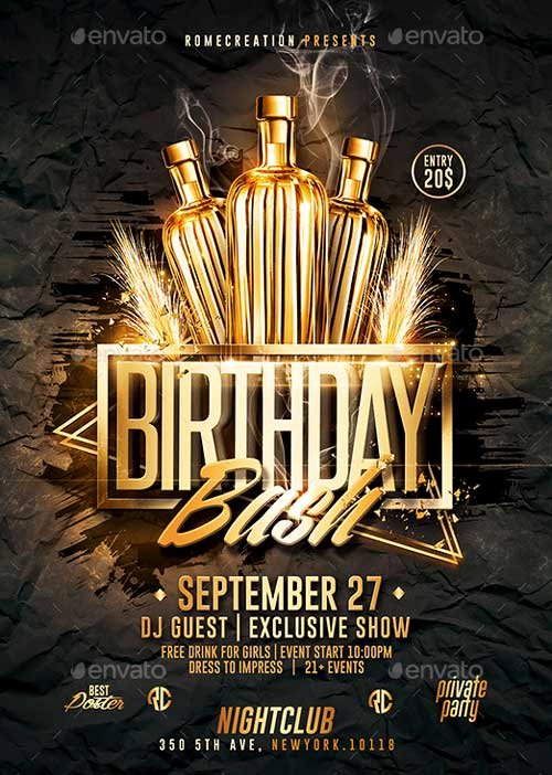 30th Birthday Poster Templates Best Of Gold Birthday Bash Psd Flyer Template Download Psd Flyer