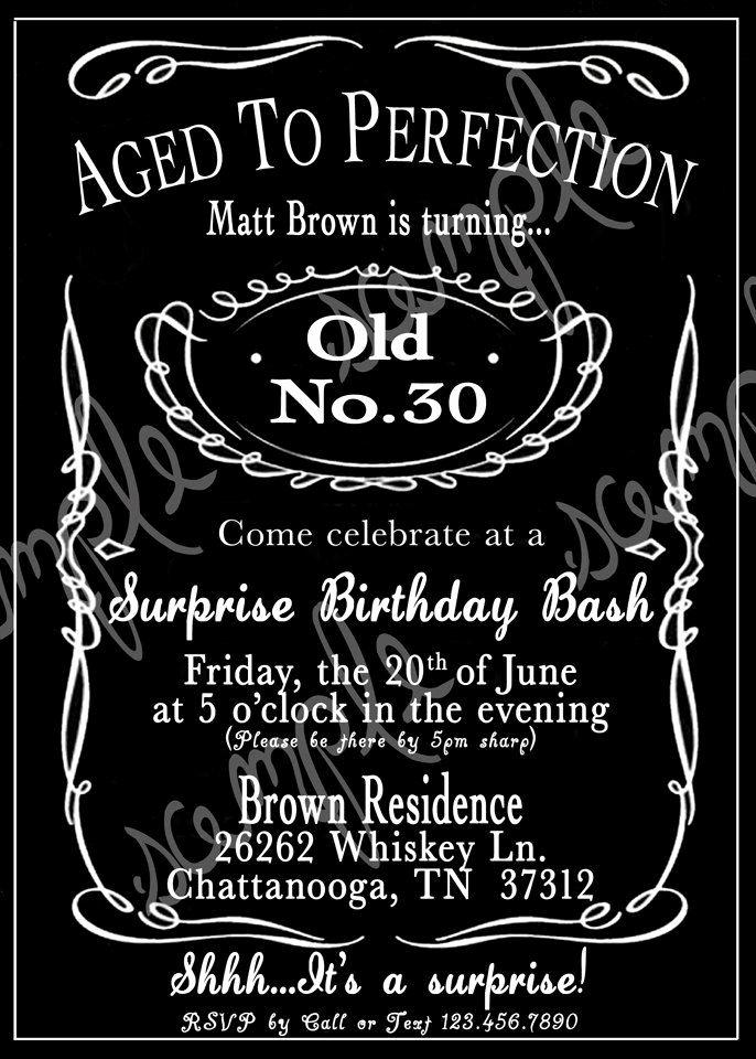 30th Birthday Poster Templates Elegant Adult Black and White Whiskey 30th 40th 50th Birthday