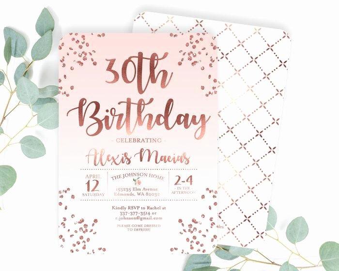 30th Birthday Poster Templates Fresh 30th Birthday Invitation Rose Gold Glitter Confetti Blush