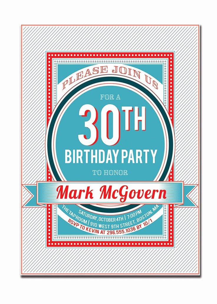 30th Birthday Poster Templates Fresh 30th Birthday Party Invitation 21st 40th 50th 60th Modern
