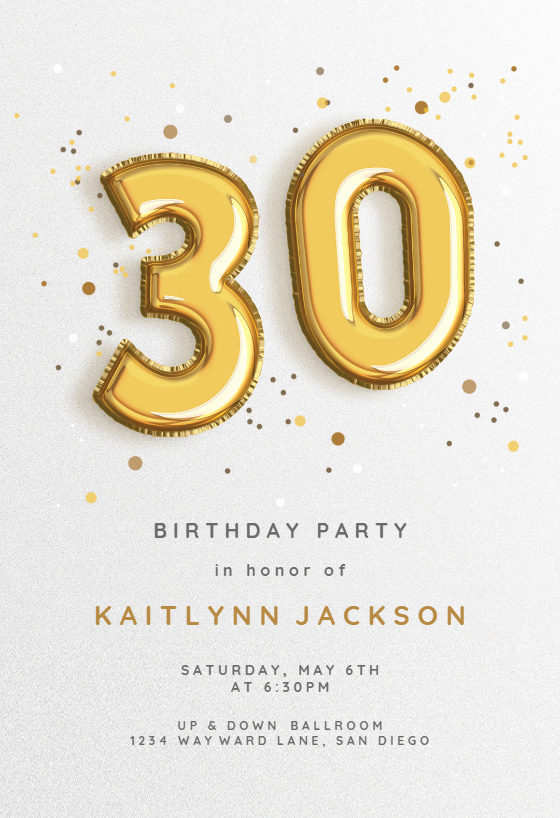 30th Birthday Poster Templates New 30th Foil Balloons Birthday Invitation Template Free