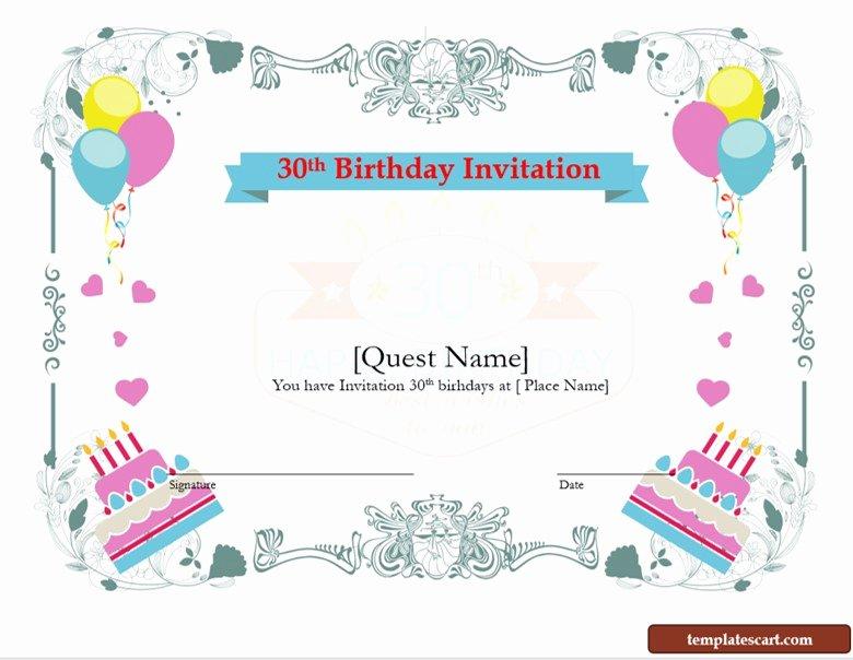 30th Birthday Poster Templates Unique Download Free 30th Birthday Invitation Wording Templates