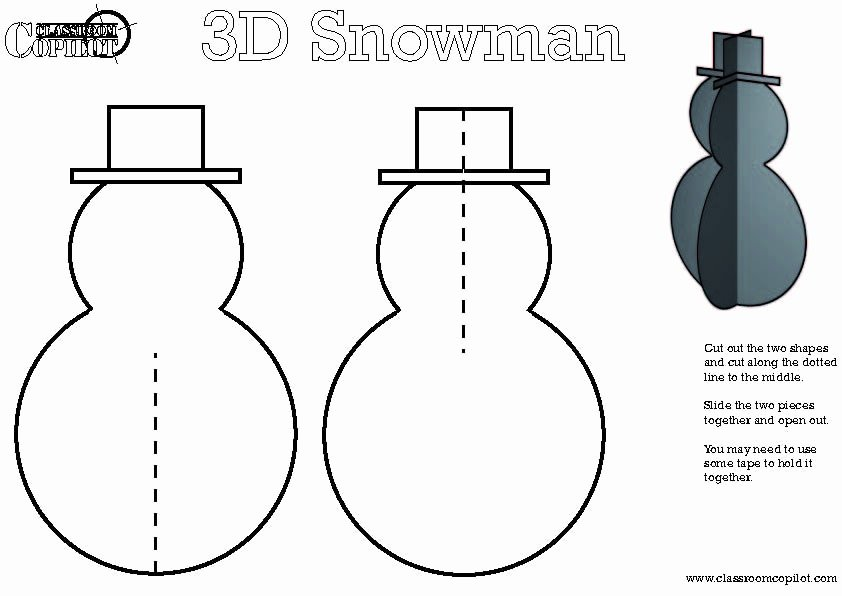 3d Christmas Tree Template Elegant 3d Snowman with Free Template Christmas Crafts