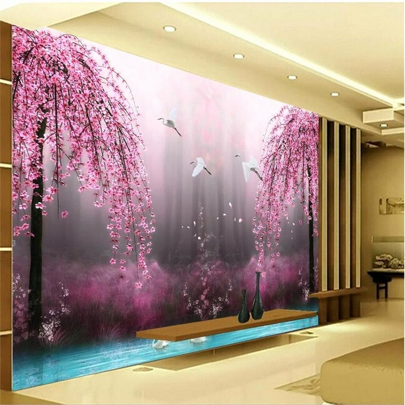 3d Paintings On Wall Inspirational Aliexpress Buy Romantic Purple Peach Crane Lake Wall