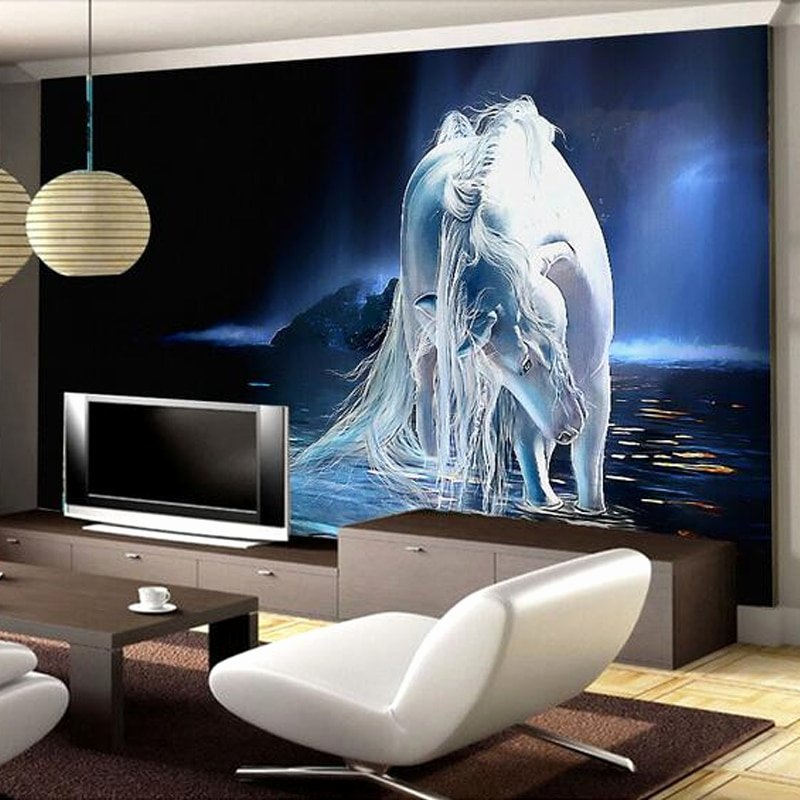 3d Paintings On Wall Unique Customized Any Size White Horse Wall Art Painting 3d