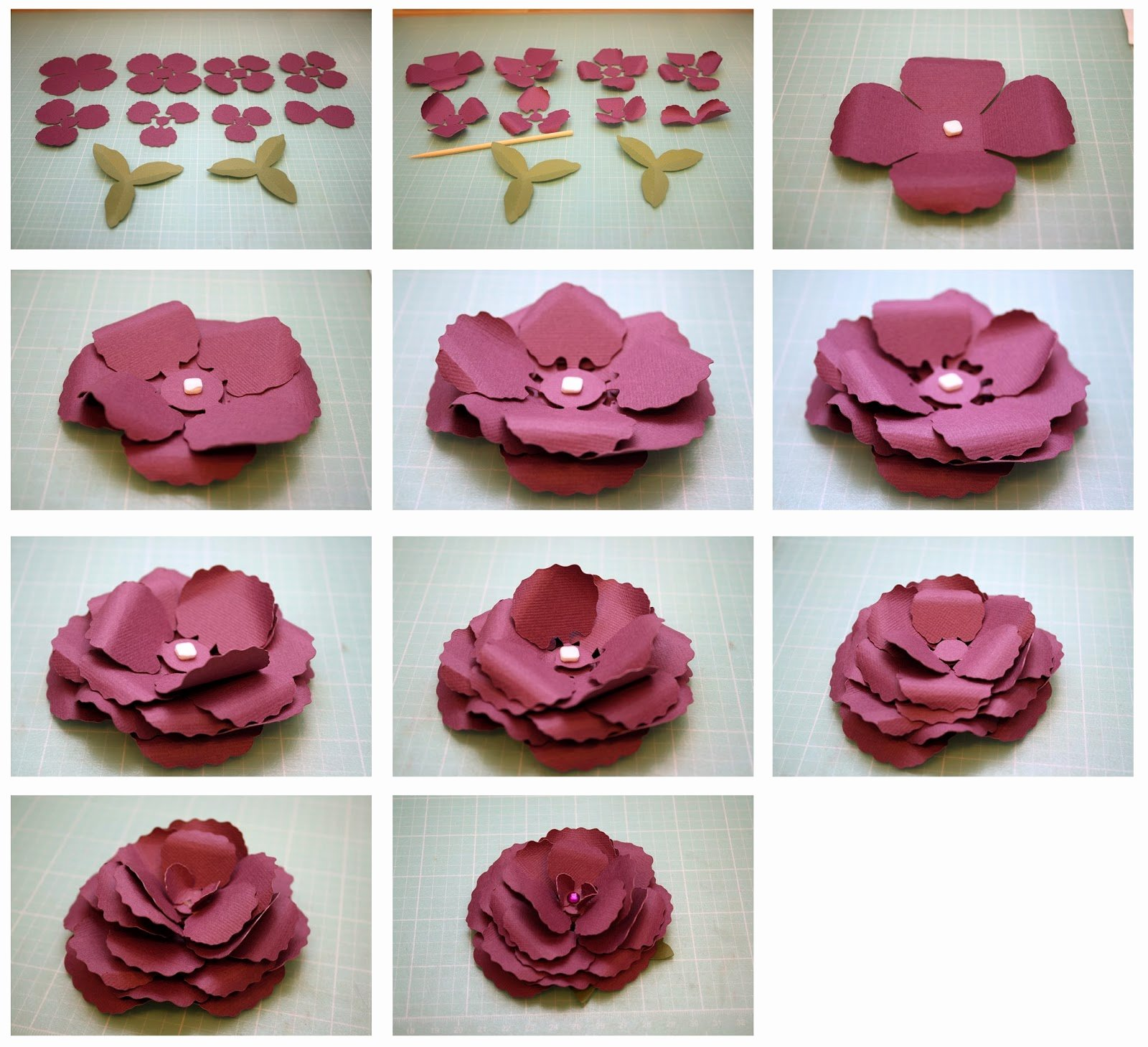 3d Paper Flower Template Best Of Bits Of Paper Begonia and Gardenia 3d Paper Flowers