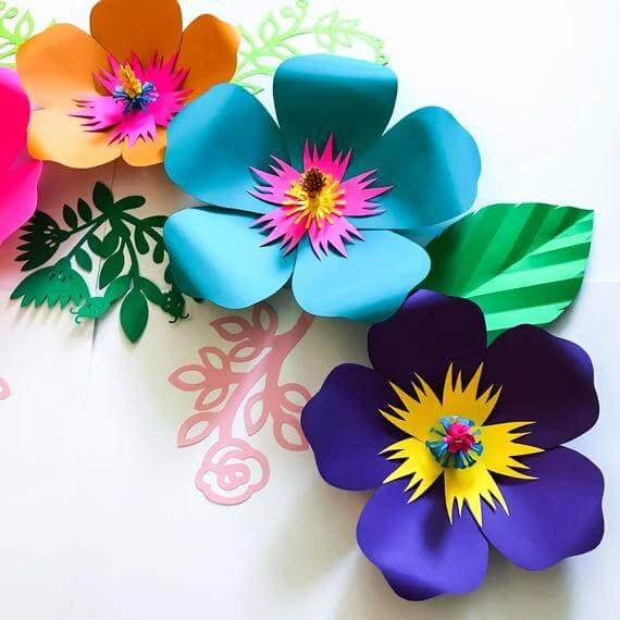 3d Paper Flower Template New 3d Tropical Hibiscus Flower Template — Homebnc