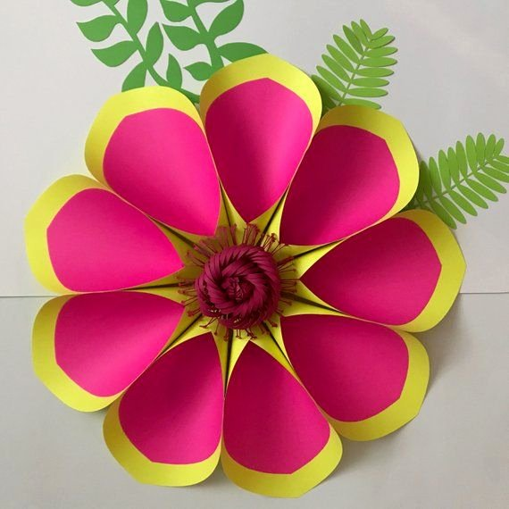 3d Paper Flower Template New Pdf Petal 2 Paper Flowers Template Base Flat Center 3d